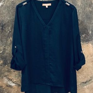 Ellen Tracy Navy blue silky shirt with studs